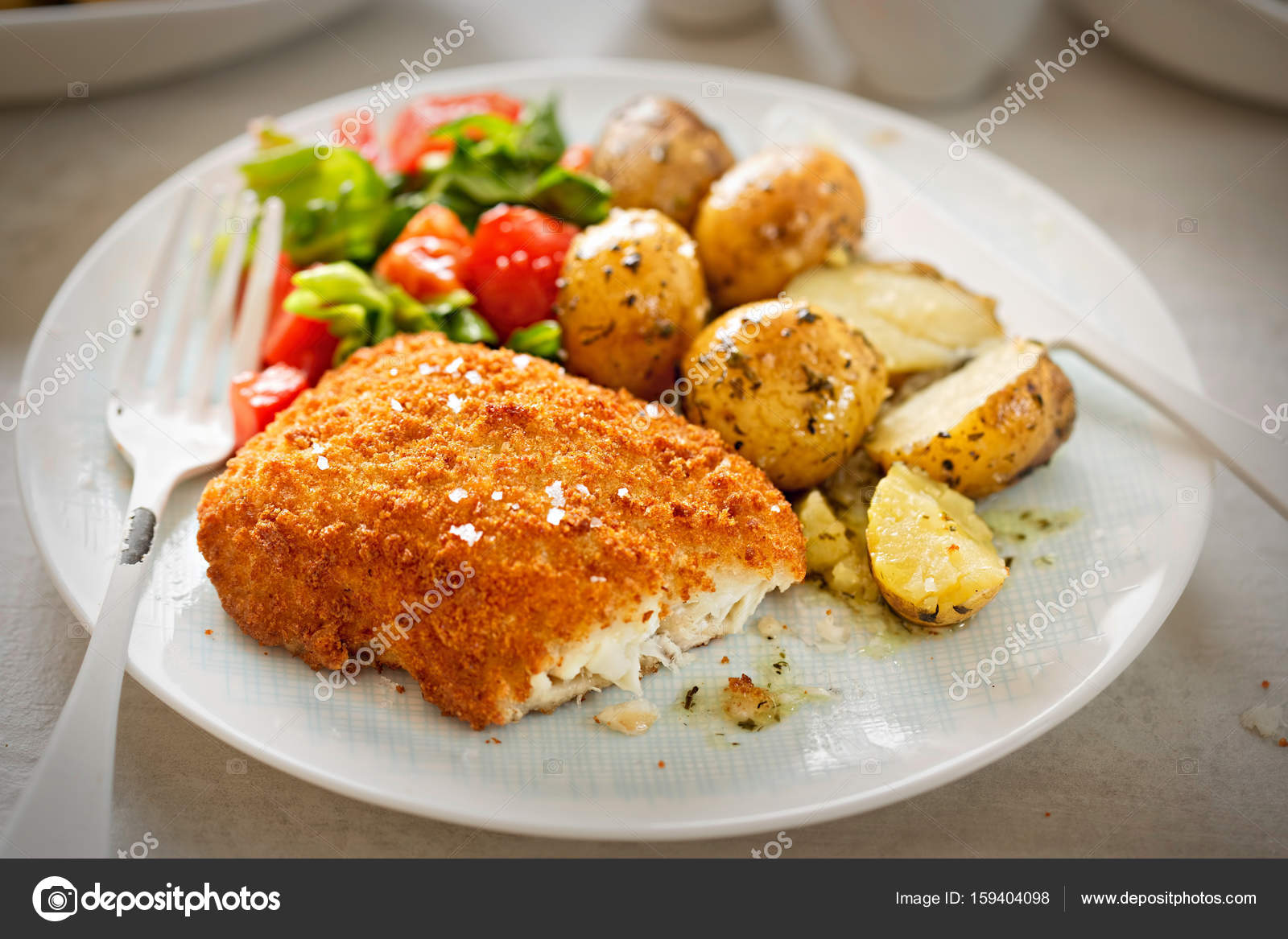 Baby Cod Traditional Breaded Fillet Of Cod With Baby Potatoes And Salad