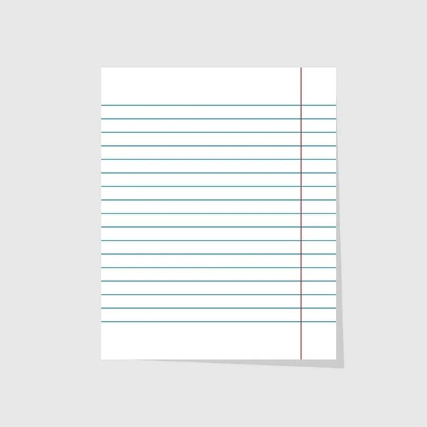 Blank realistic vector lined copy-book sheet with red margins - lined blank paper