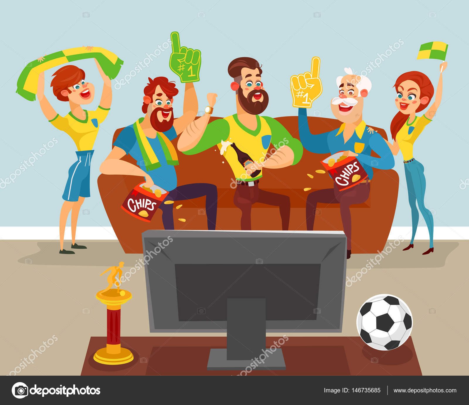 Support Tv Deporte Cartoon Family Watching A Football Match On Tv Stock
