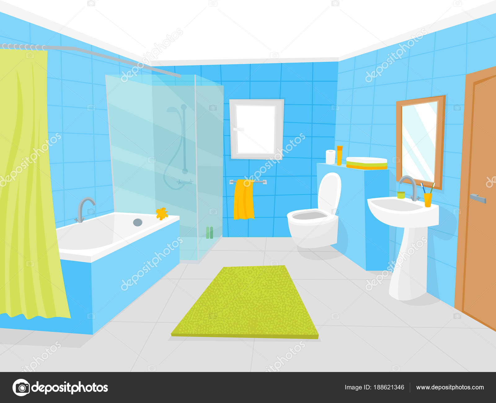 Poster Badezimmer Cartoon Bathroom Interior With Furniture Card Poster