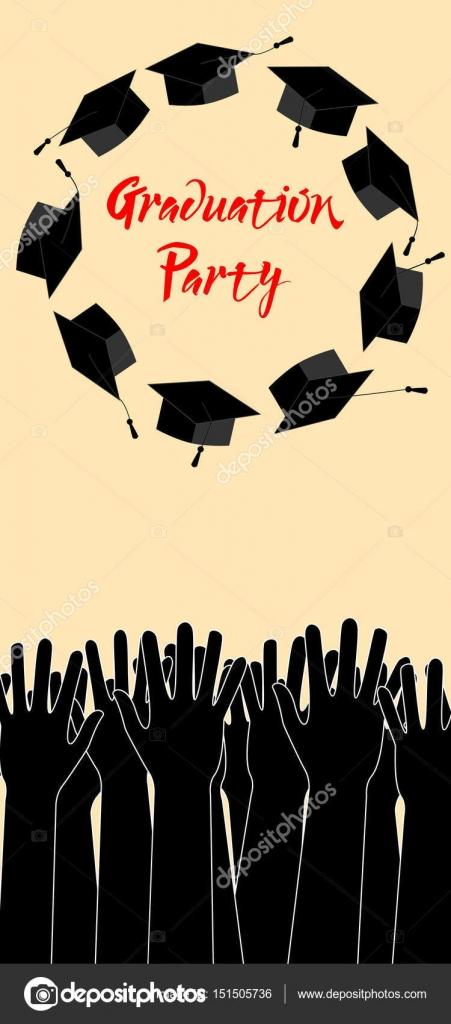 Postgrado manos levantando sombreros de graduación Tarjeta de