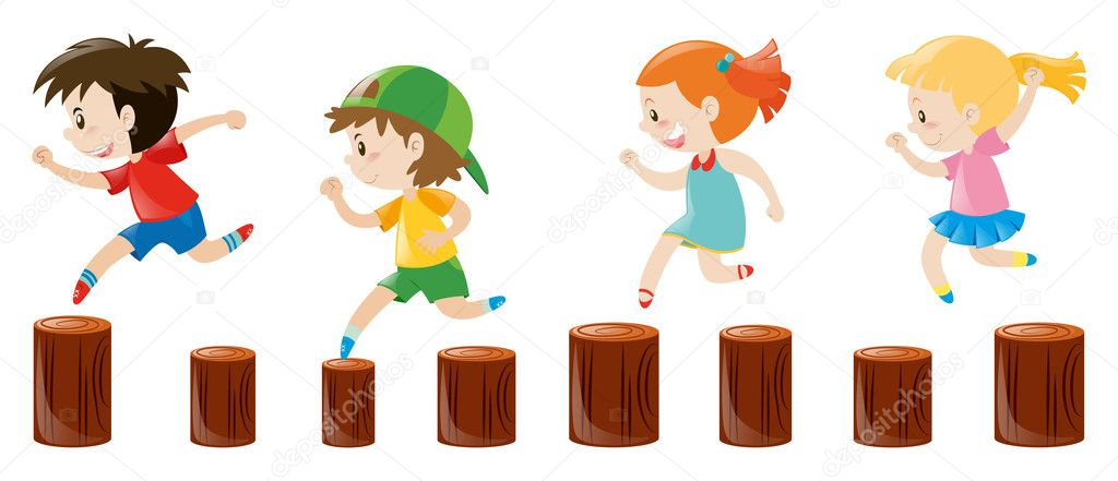 Four kids running on the logs \u2014 Stock Vector © brgfx #127188306