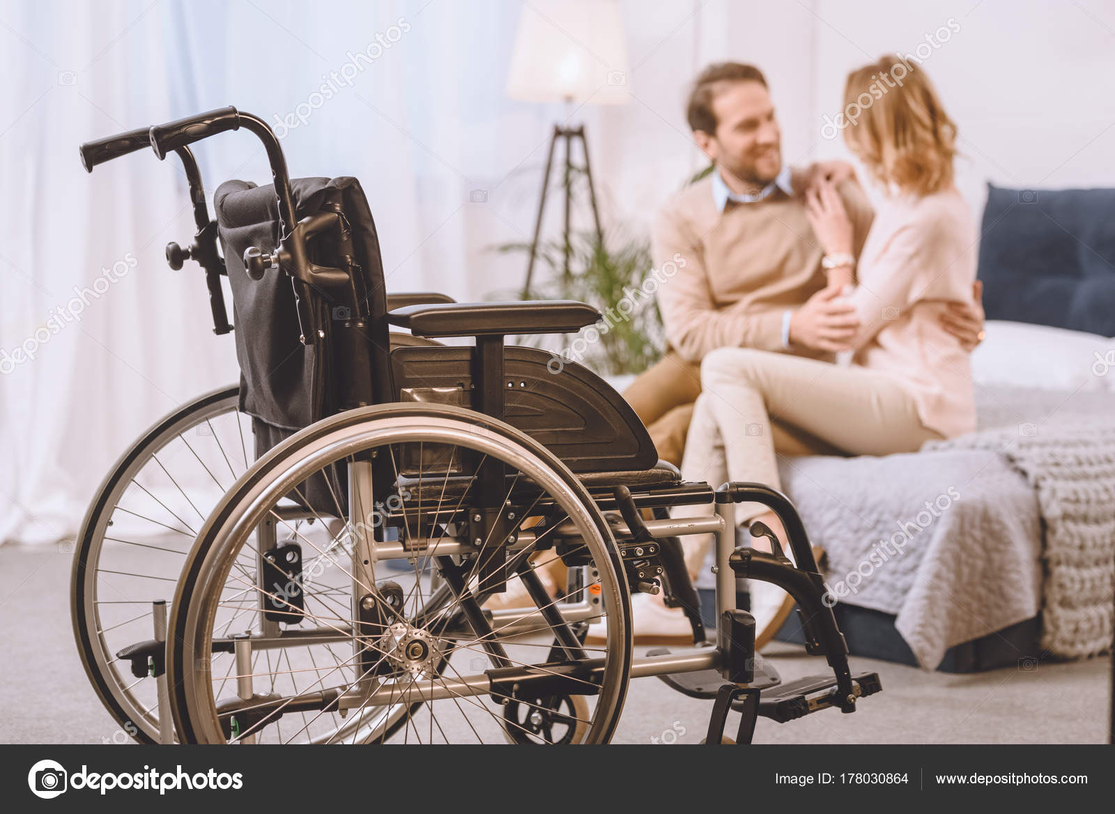 Bed Wheelchair Happy Husband Disability Wife Sitting Hugging Bed Wheelchair