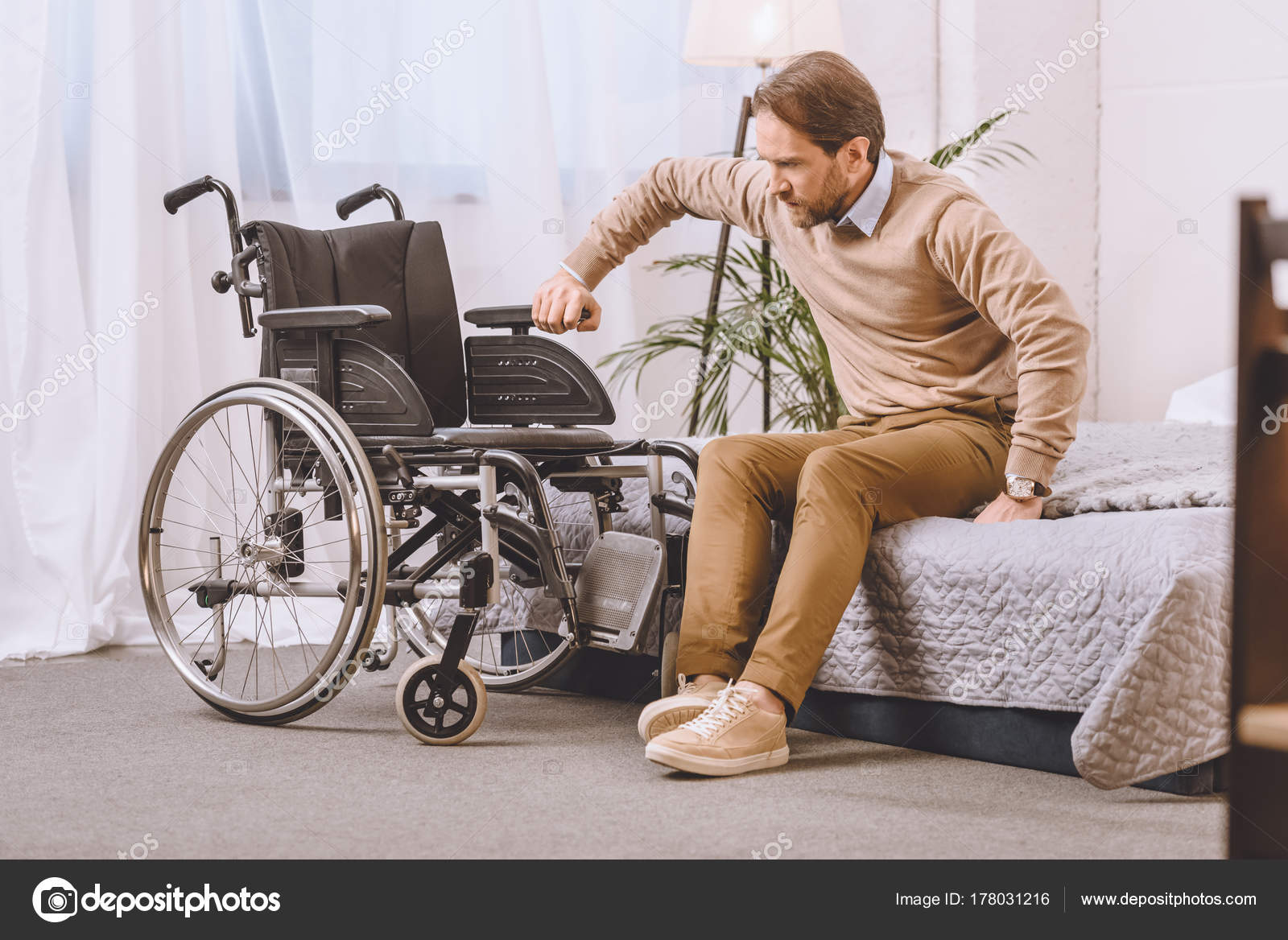 Bed Wheelchair Man Disability Trying Sit Wheelchair Bed Stock Photo
