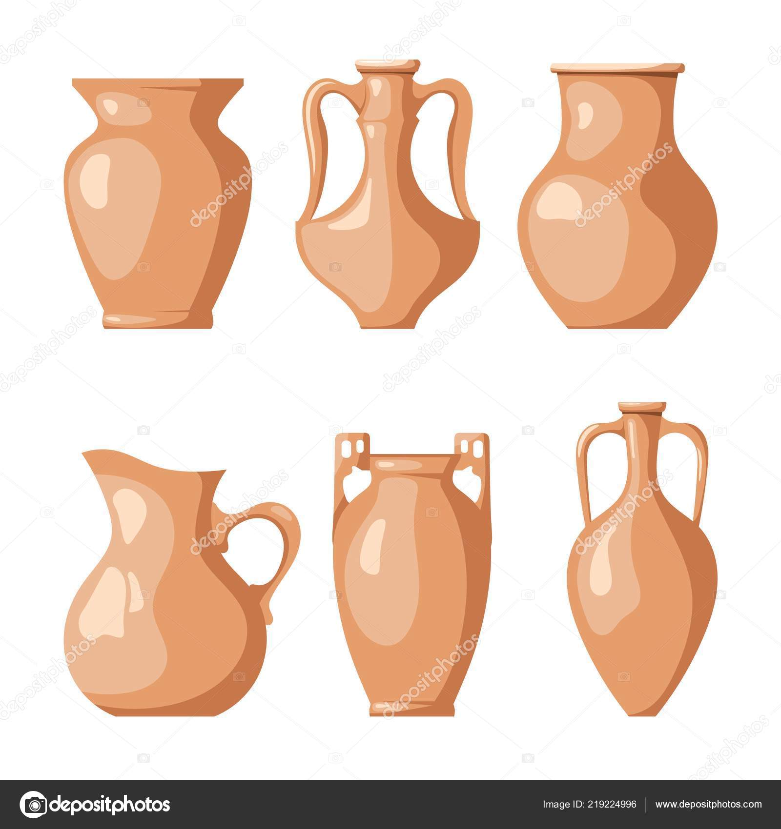 Pitchers Jugs Set Clay Jugs White Background Collection Pitchers Liquid Grain