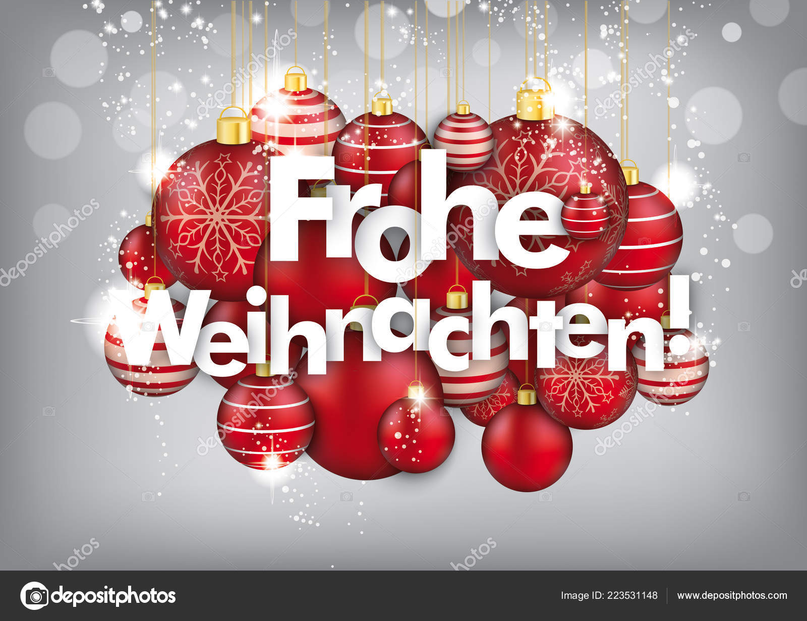 Frohe Weihnachten German Text Frohe Weihnachten Translate Merry Christmas Eps Vector