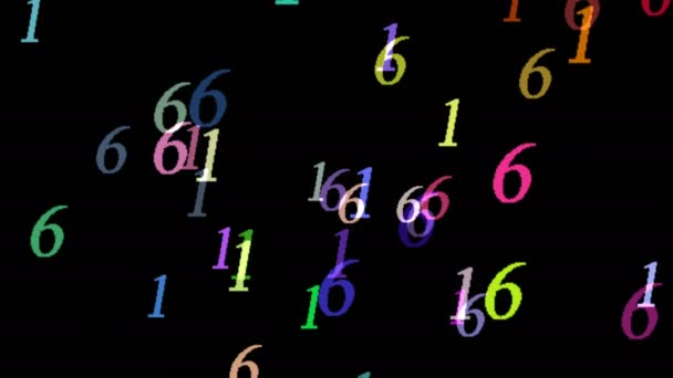 Animated Computer Screen Saver Moving Colored Symbols Digits Black