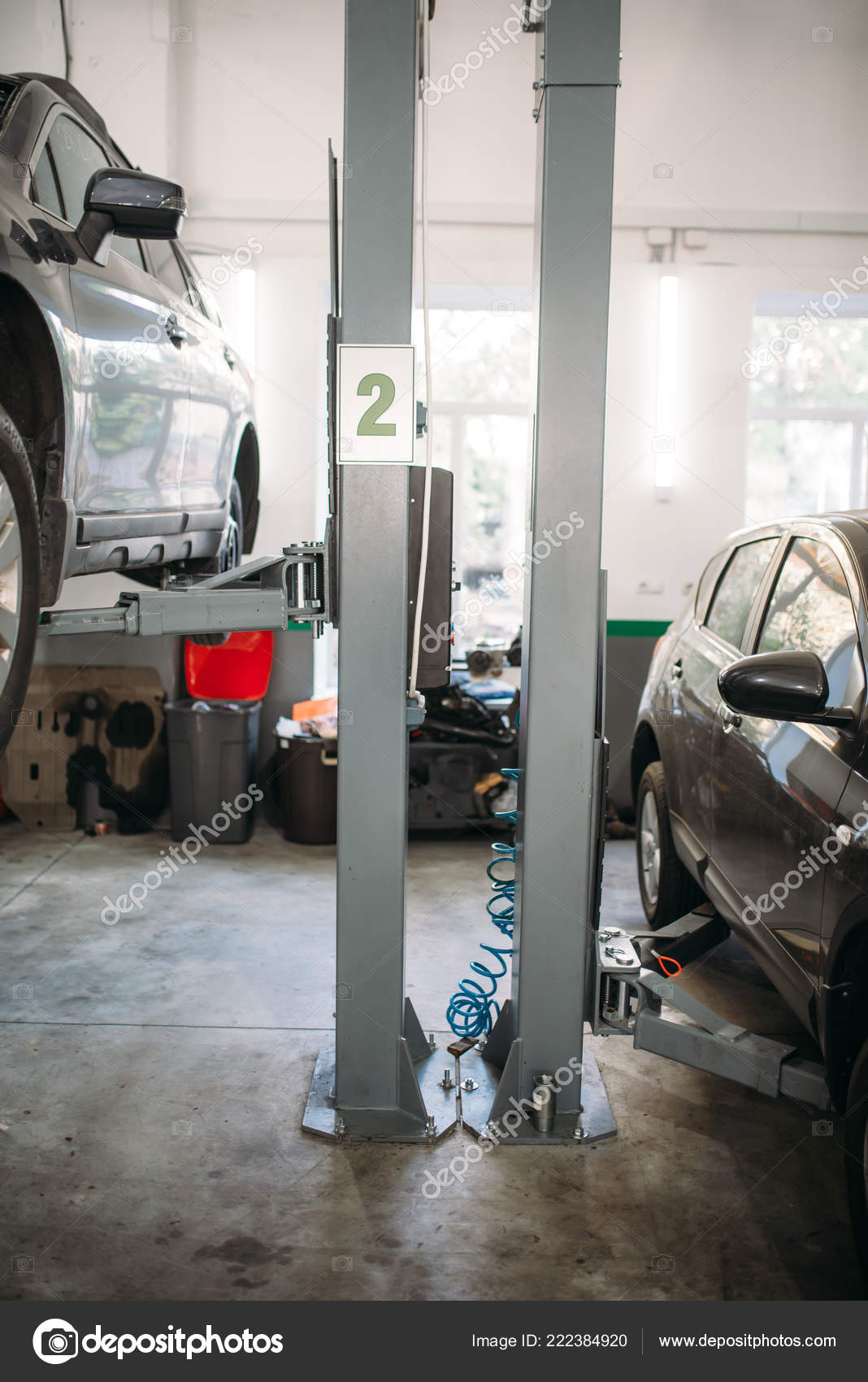 Car Lift In Garage Car Lift Garage Nobody Automobile Repair Vehicle Maintenance Tire