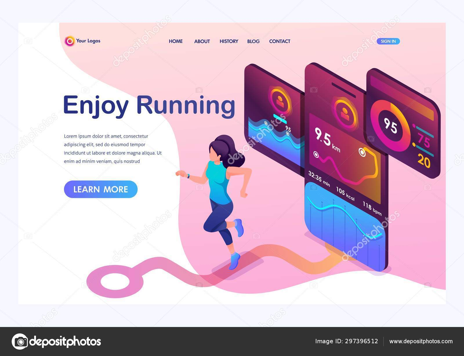 Running Jogging App Isometric Concept Young Girl Jogging Running Mobile App