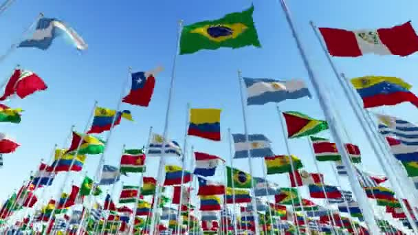 Many Flags Countries South American Continent Waving Wind Clear Blue