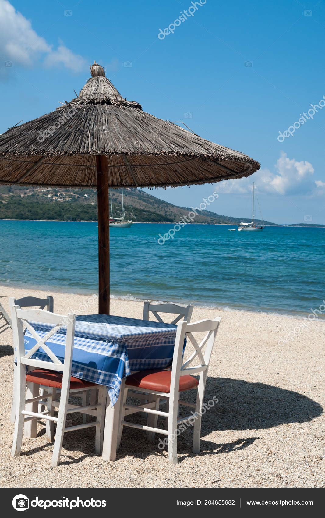 Table Chairs Beach Greece Stock Photo Image By Papadimitriou 204655682