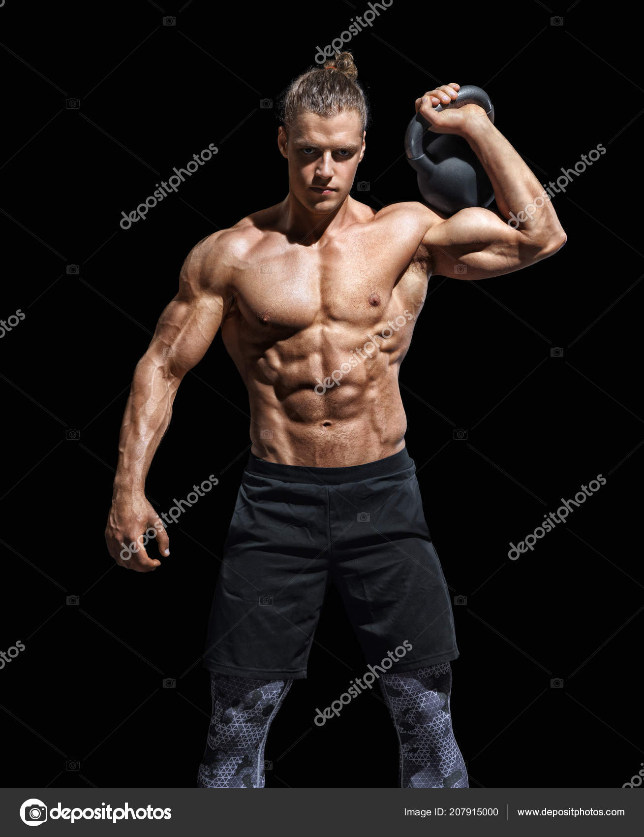 Kettlebell Bodybuilding Sporty Young Man Working Out Kettlebell Photo Muscular Man Perfect