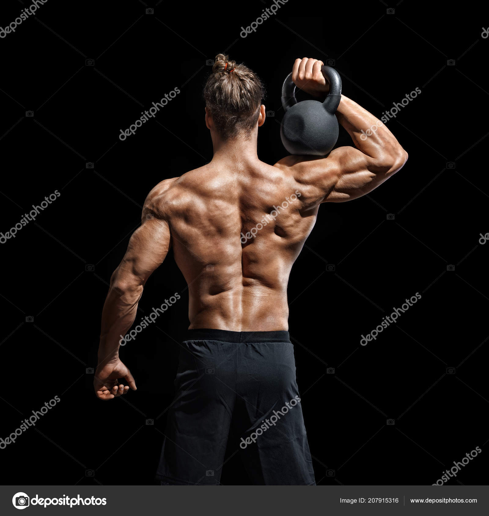 Kettlebell Bodybuilding Young Bodybuilder Doing Exercise Kettlebell Rear View Muscular