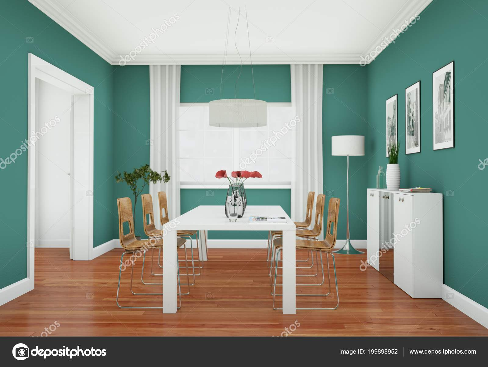 Innenarchitektur Verden Green Dining Room Interior Design In Modern Appartment Stock