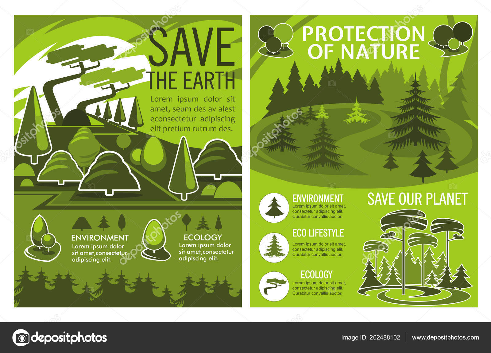 Wandposter Natur Save Earth Poster Of Eco Or Environment Protection Stock Vector