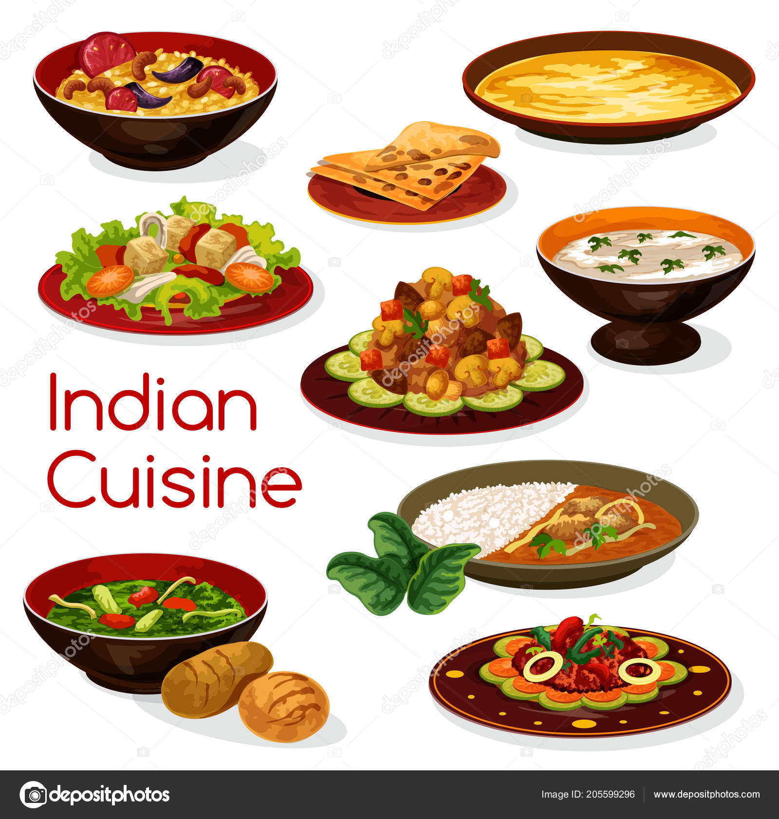 Cuisines Similar To Indian Indian Cuisine Meal Icons And Dishes Stock Vector Seamartini
