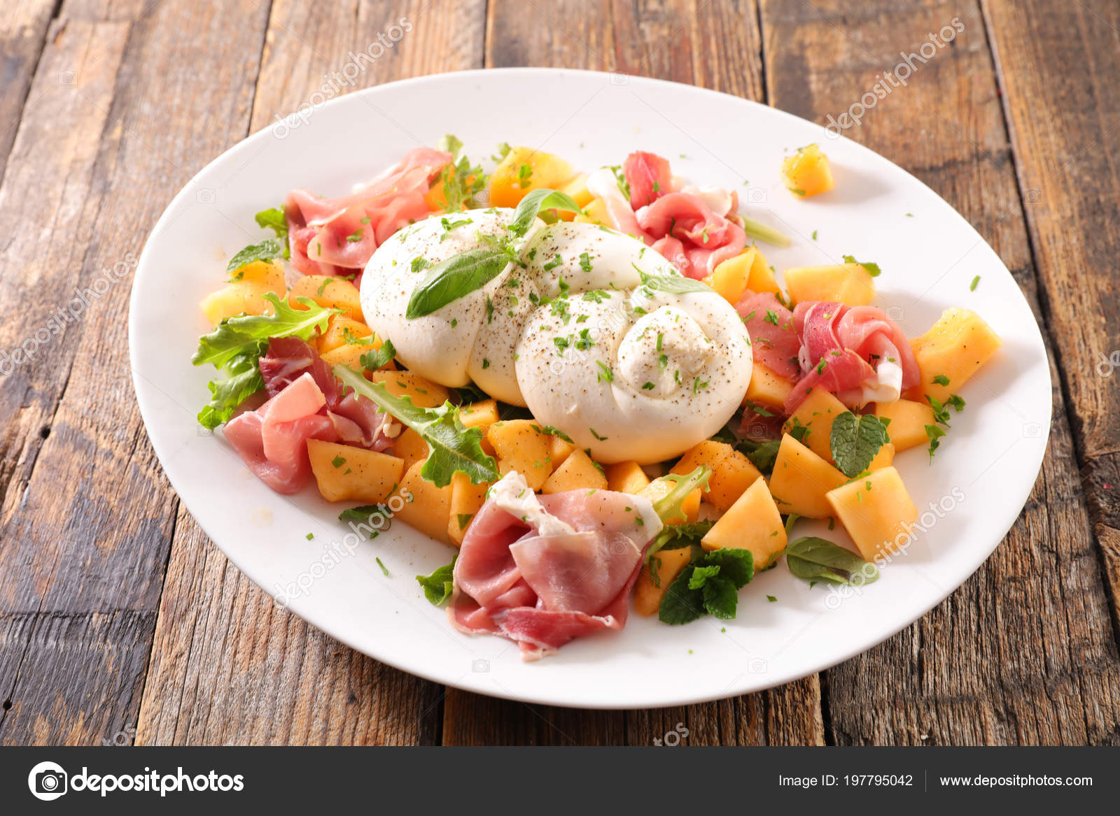 Melonen Mozzarella Salat Melon Salad Prosciutto Ham Mozzarella Stock Photo Studiom