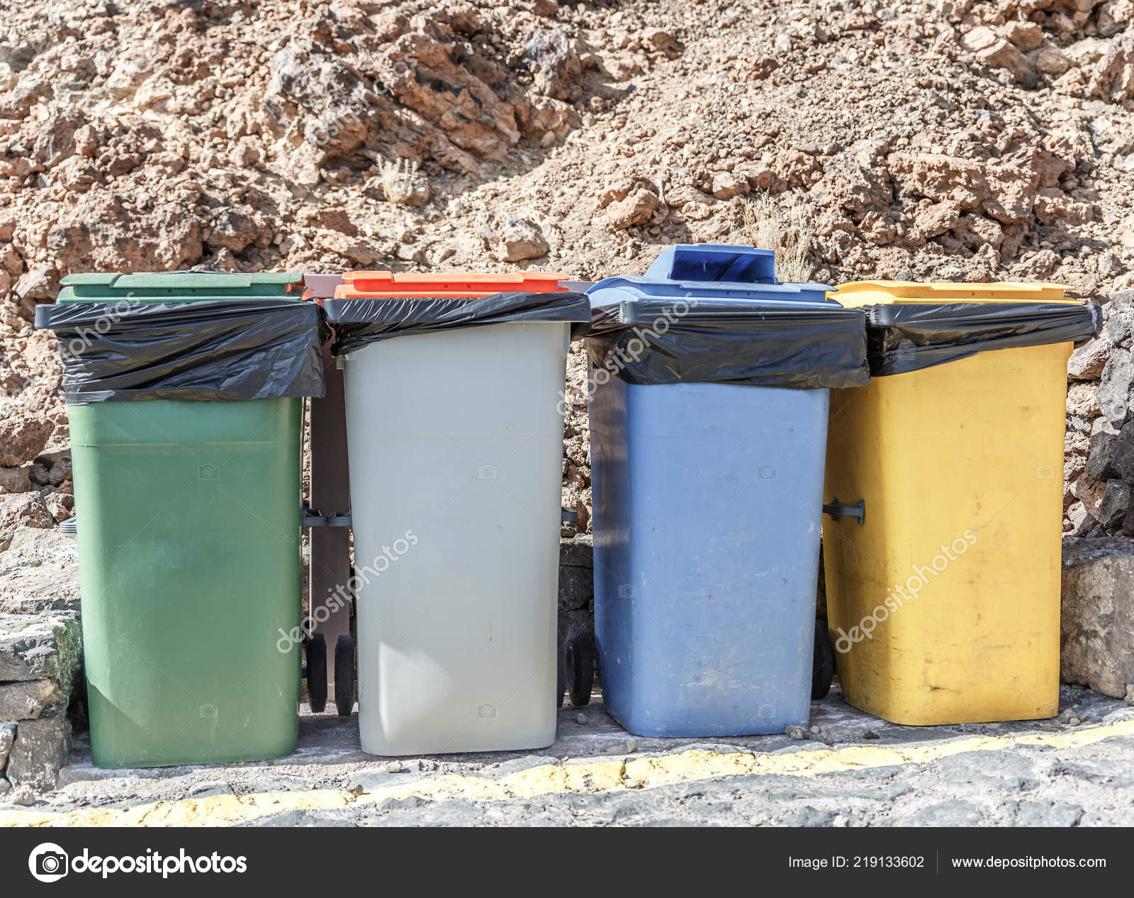 Colorful Garbage Cans Four Garbage Cans Different Colors Recycle Waste Stock Photo