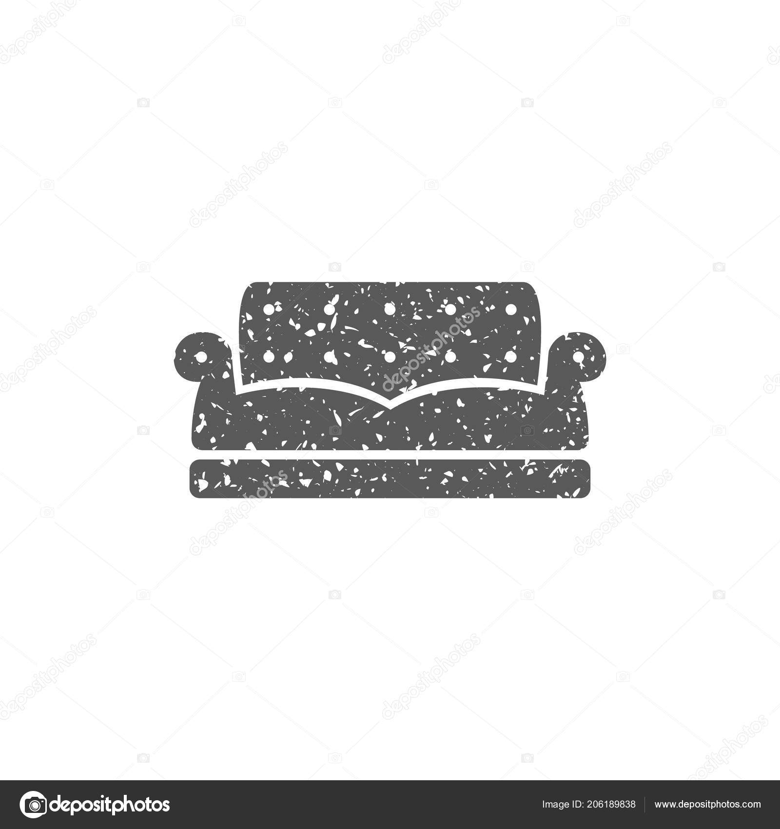 Sofa Texture Vector Couch Icon Grunge Texture Isolated White Background Stock Vector