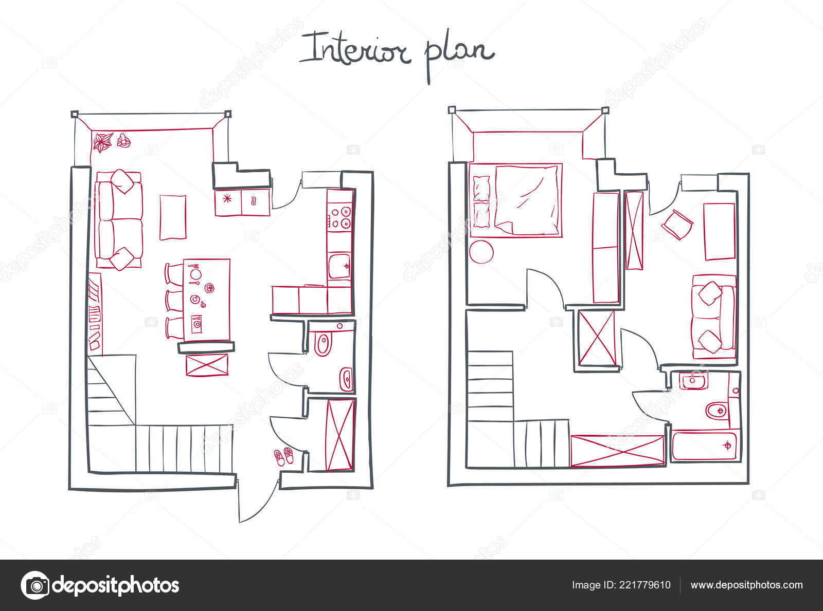 Plan D'appartement Plan D Architecture Simple Vecteur D Appartement Moderne Image
