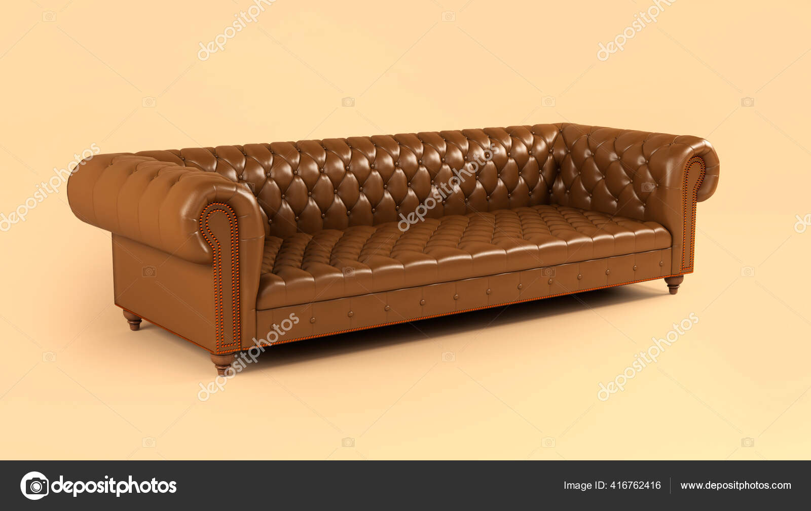 Leather Brown Sofa Wooden Legs Quilted Back Beige Background Side Stock Photo Arkhipenko21 416762416