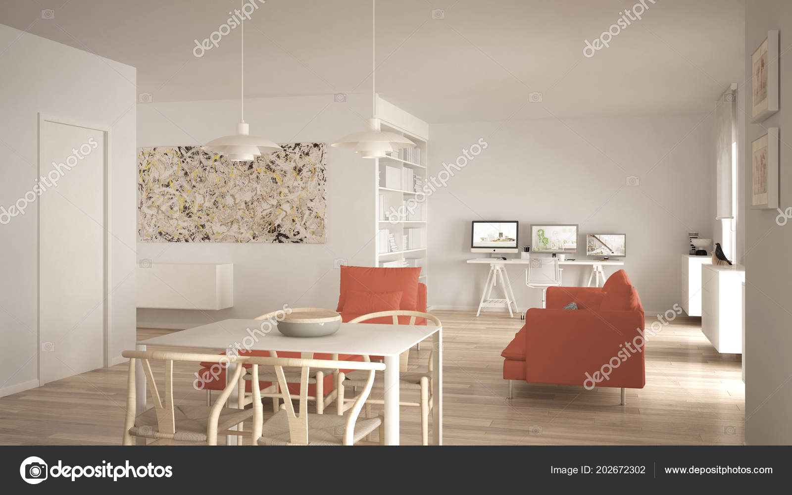 Minimalist Living Space Nordic Minimalist Living Room Open Space Dining Table Sofa Corner