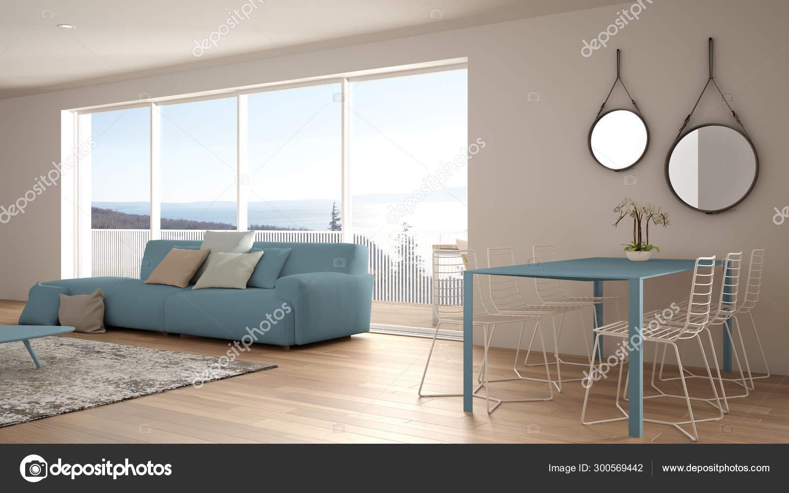 Penthouse Minimalist Kitchen Interior Design Lounge With Sofa And Carpet Dining Table Island With Stools Parquet Modern Contemporary White And Blue Architecture Concept Idea Stock Photo Image By Archiviz 300569442