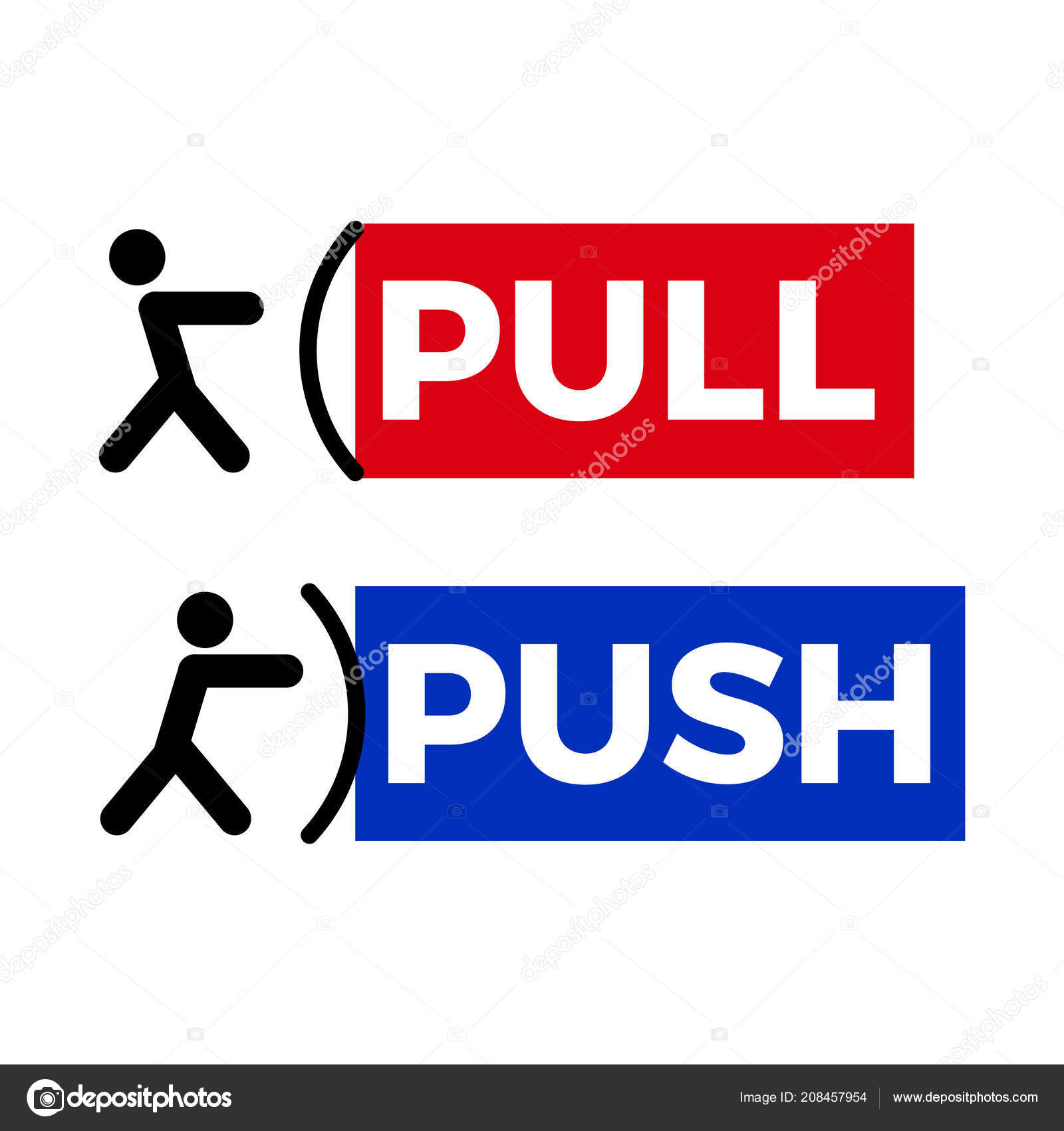 Push To Open Deur Pull Push Door Sign Stock Vector Dezidezi 208457954
