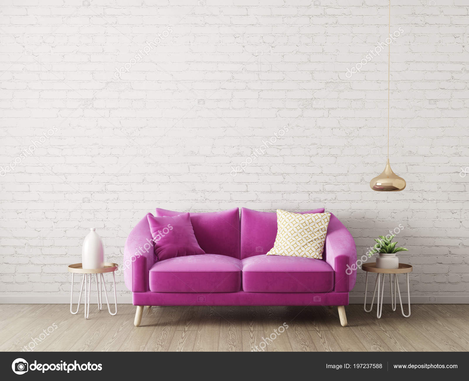 Modern Living Room Sofa Lamp Scandinavian Interior Design Furniture Render Stock Photo Image By Alexroz 197237588