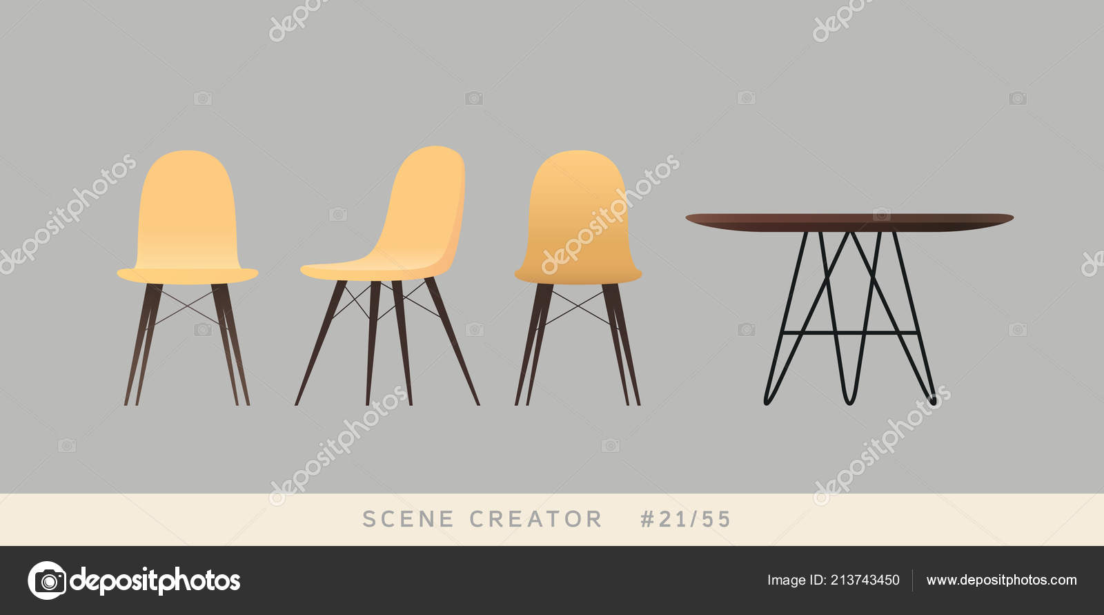 Eames Tisch Eames Chairs Table Isolated Objects Interior Scene Creator Set