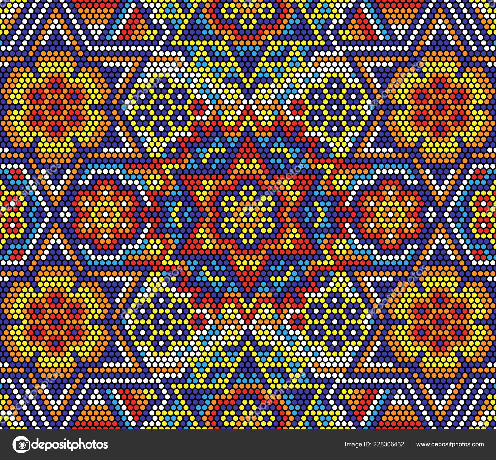 Arte Huichol Mexico Vector Illustration Colorful Abstract Seamless Pattern Mexican