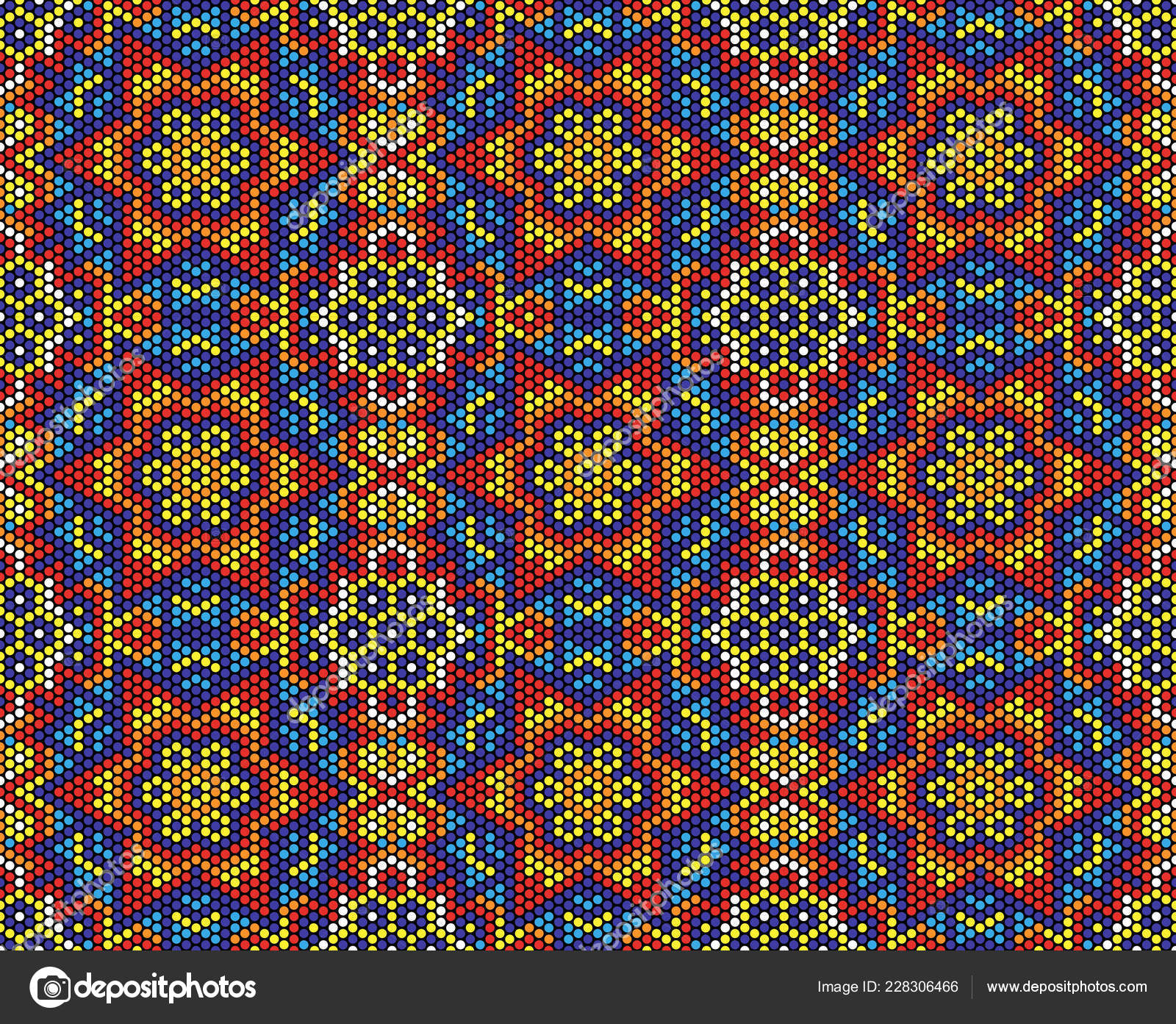 Arte Huichol Video Abstract Seamless Pattern Mexican Huichol Art Style Stock Vector