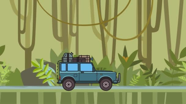 Animated SUV car with luggage on the roof trunk riding through the