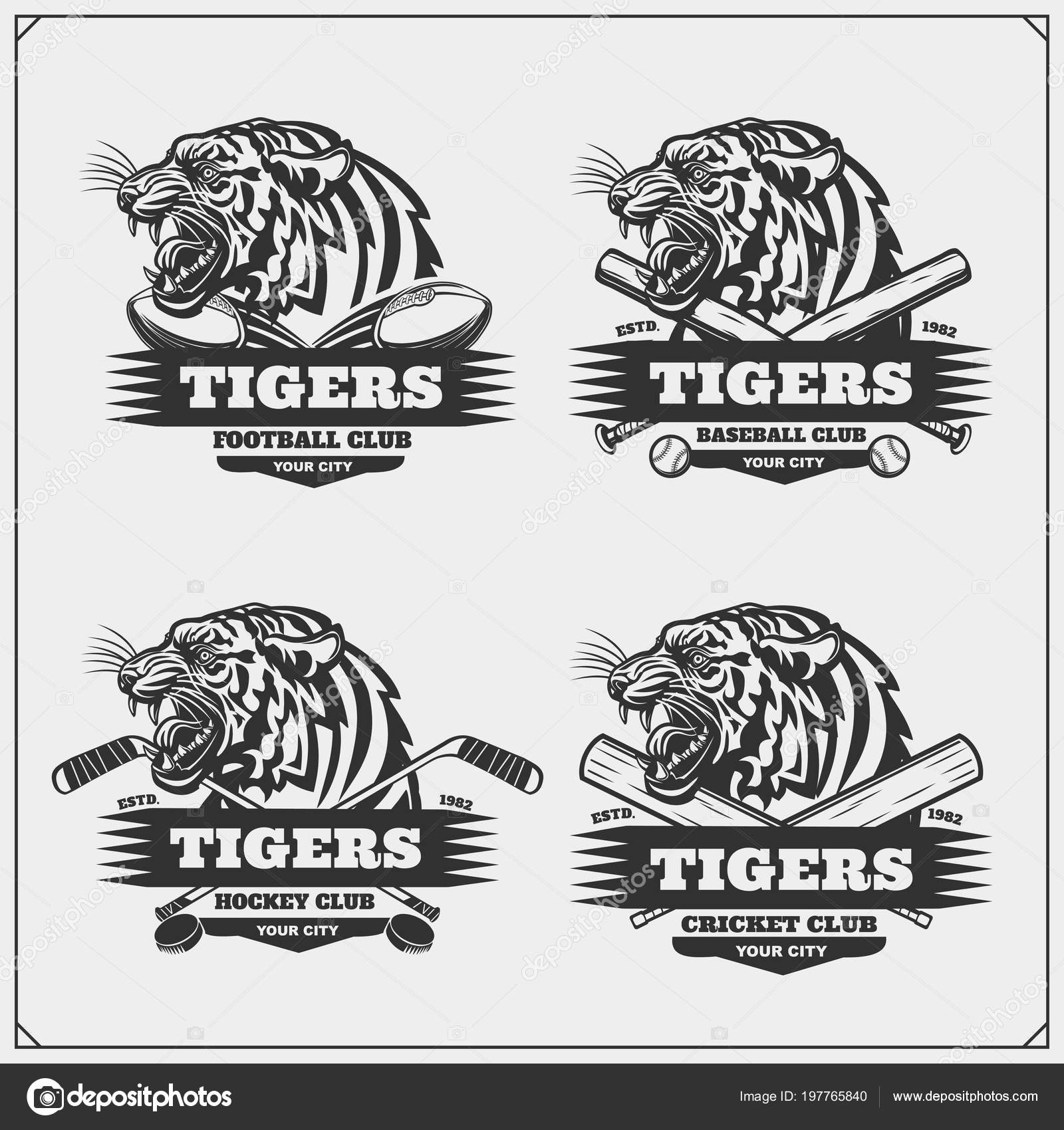 Hockey Logos Football Baseball Cricket Hockey Logos Labels Sport Club Emblems