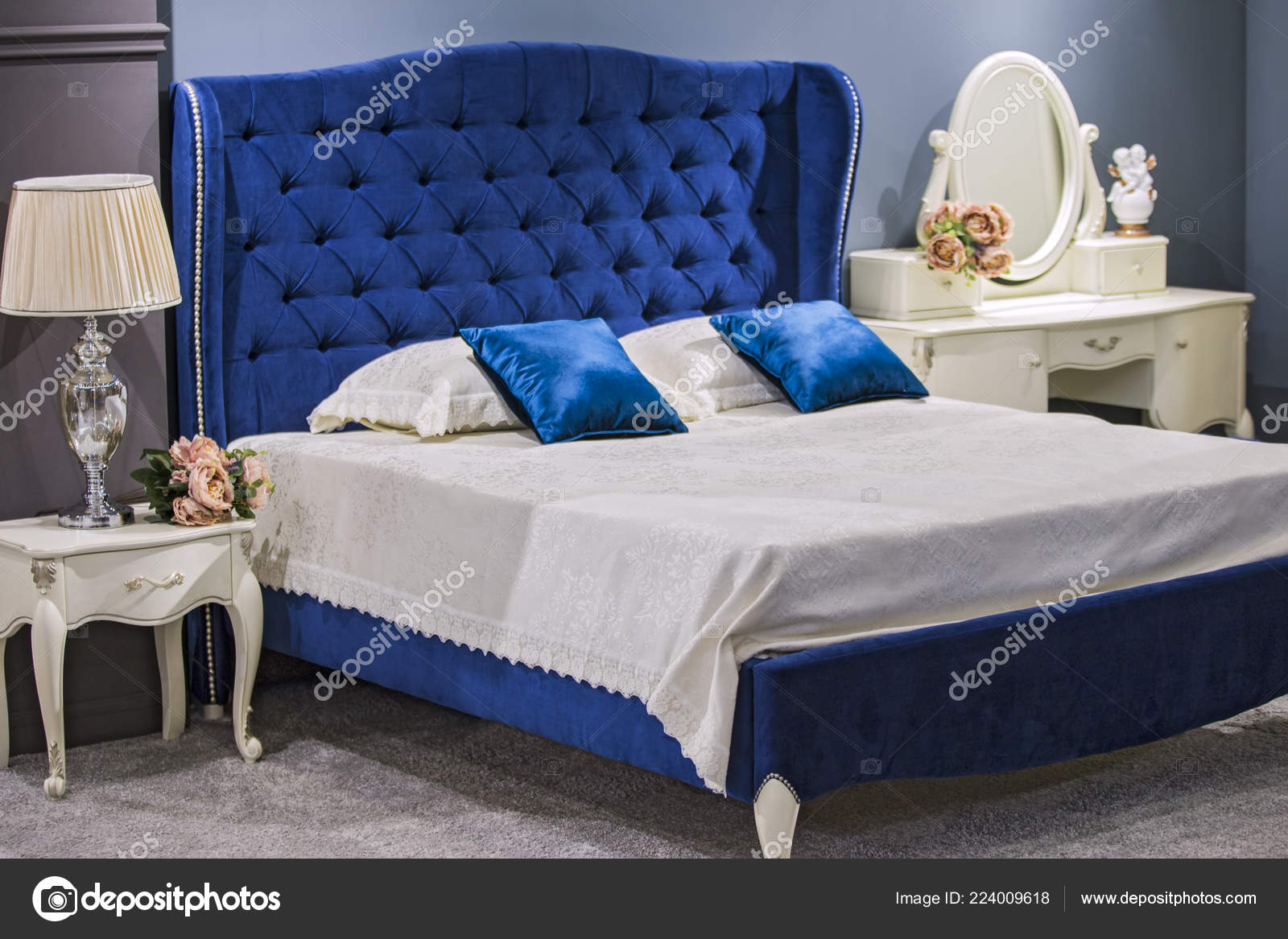 Luxury Royal Bedroom Antique Style Blue Velvet Bed White Nightstand Stock Photo Olga Prava 224009618