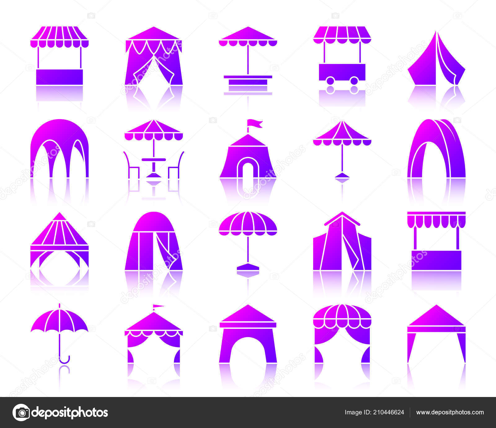 White Umbrella Marquees Tent Silhouette Icons Set Reflection Violet Sign Kit Umbrella