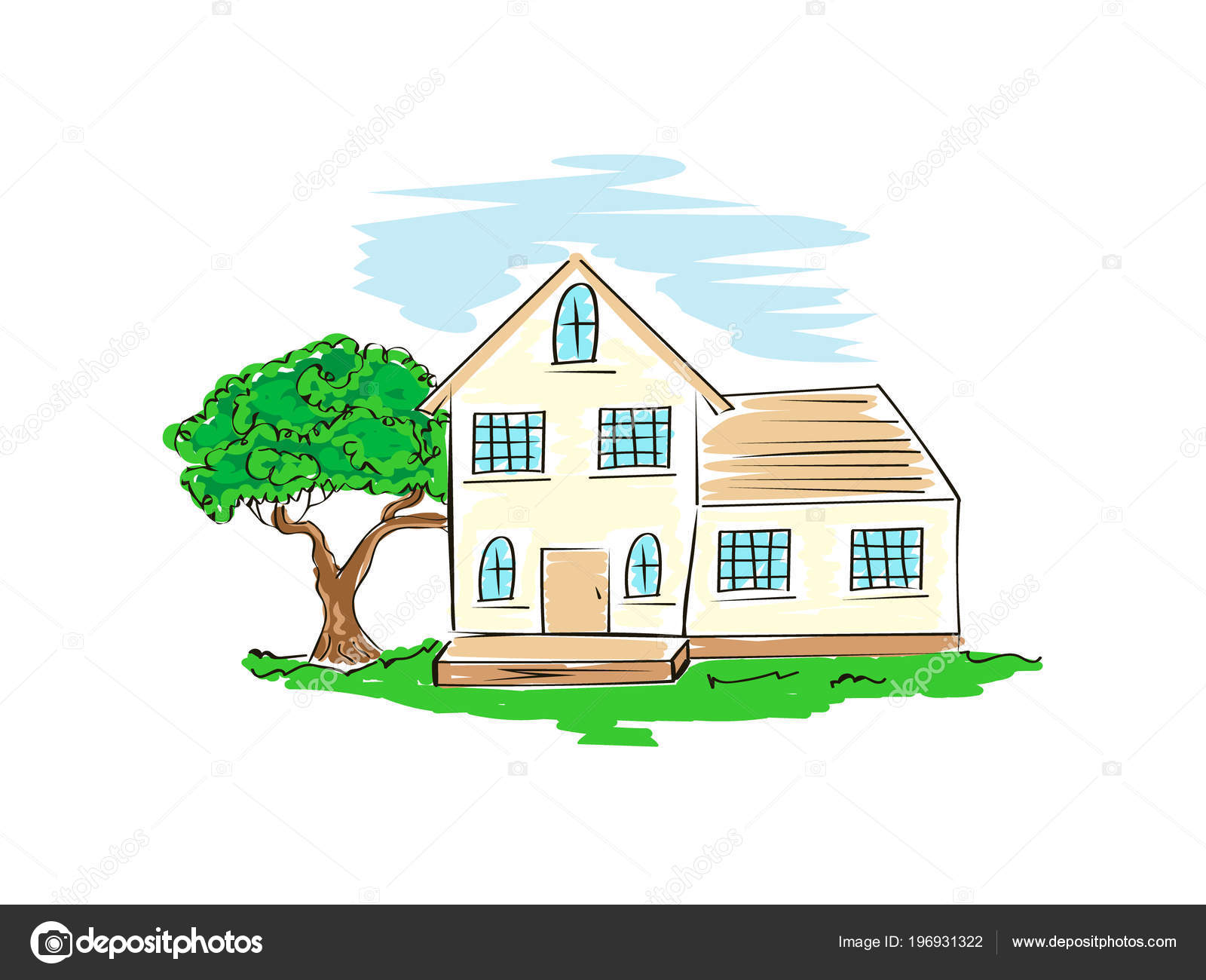 Croquis Maison Simple Croquis Vector Stock Maison Architecture Dessin Main Libre Simple