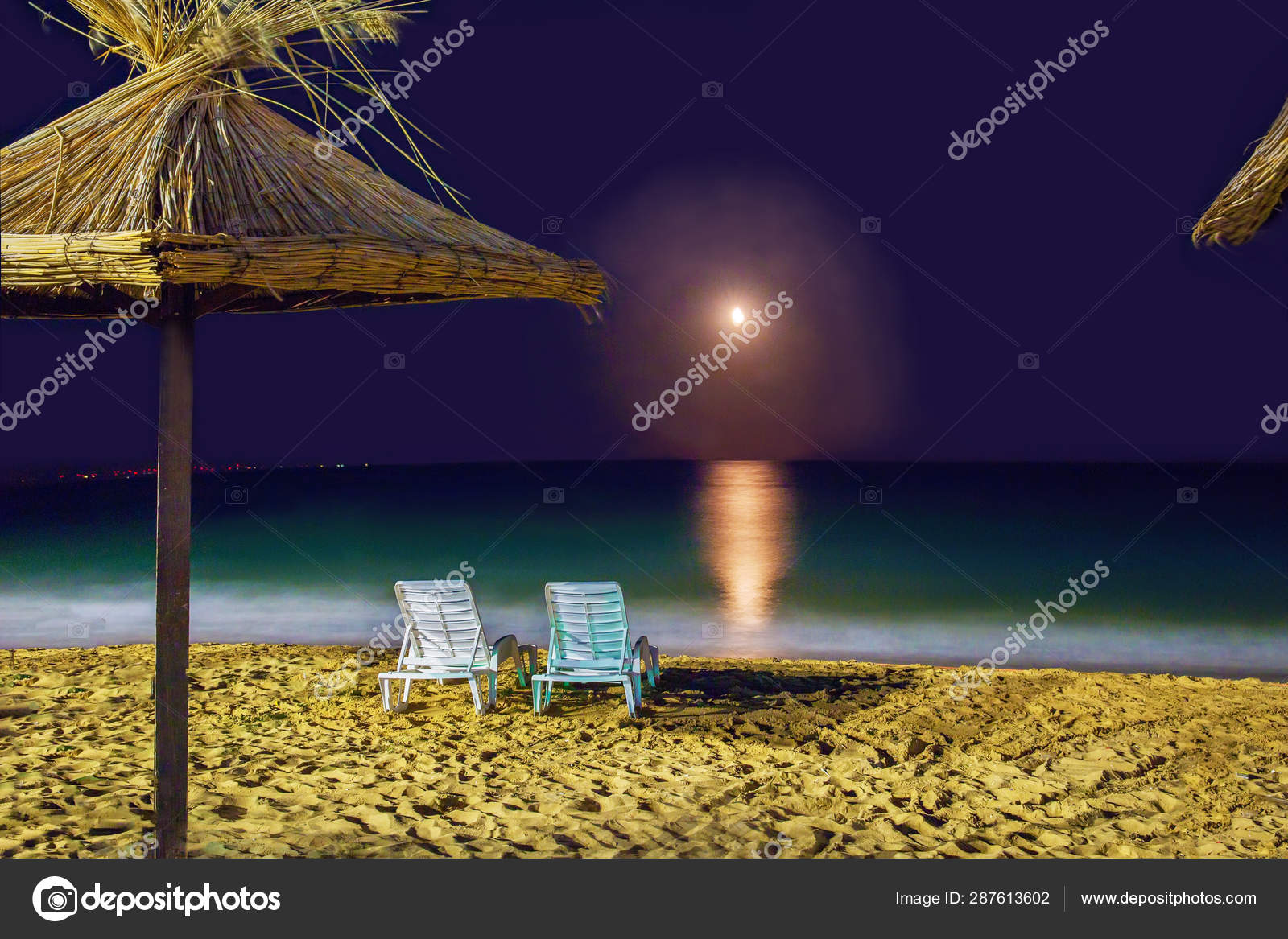 2 Beach Chairs On Sand Near Water Sea Night On The Beach Stock Photo Image By Winner55 287613602