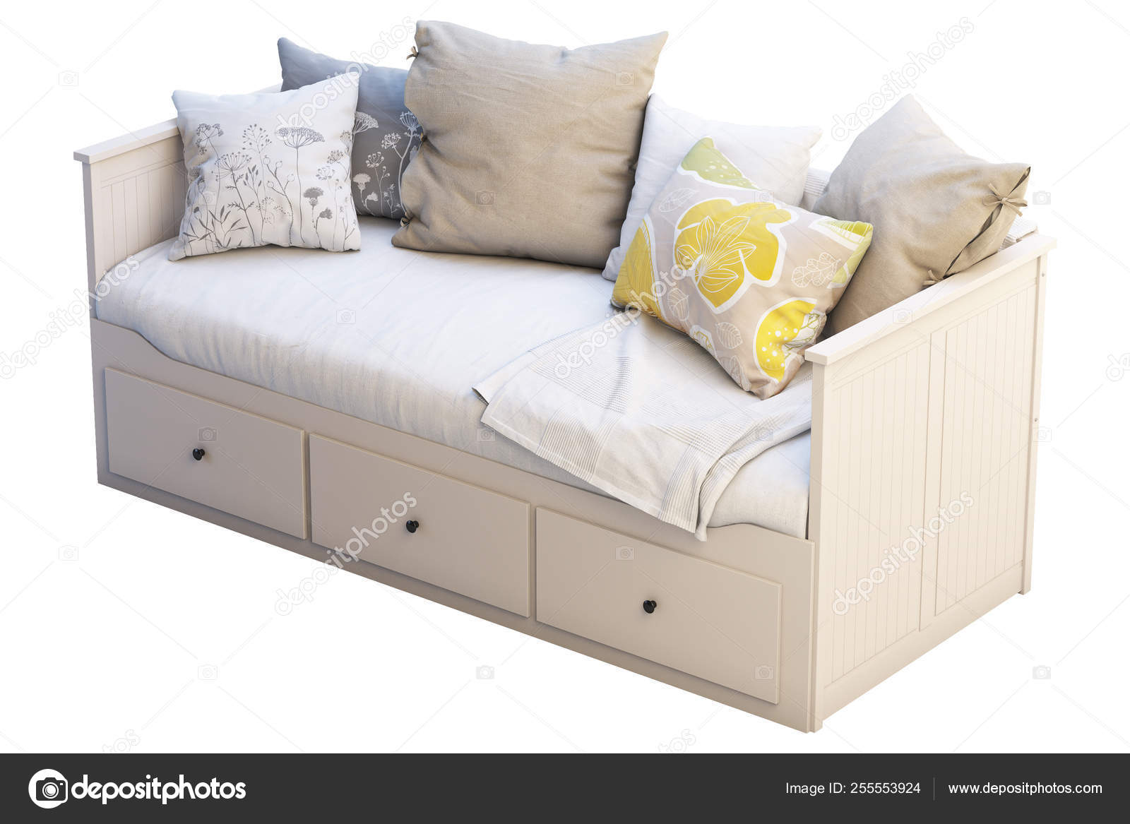 Scandinavian Folding Double Bed With Pillows And Plaid 3d Render - Klappbett Sofa