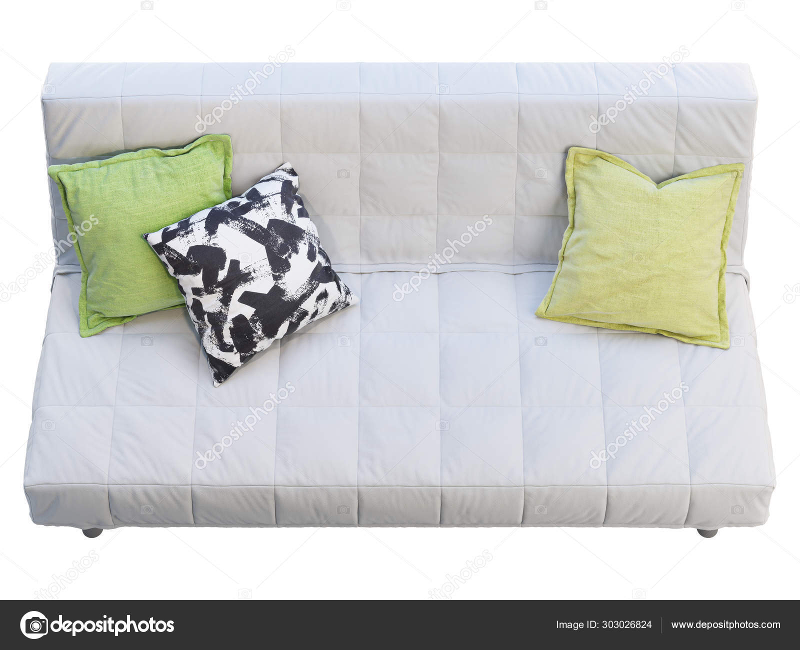 Modern Quilted Sofa Modern White Fabric Sofa With Pillows 3d Render Stock