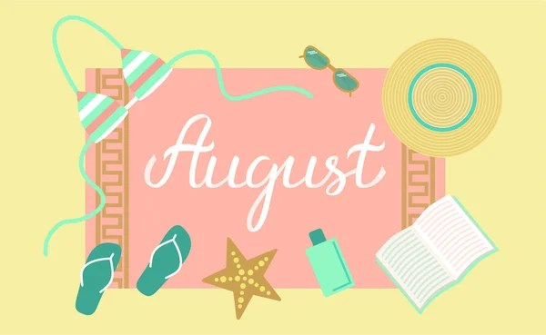 Hand Drawn Hello August Typography Lettering Poster Bright Design