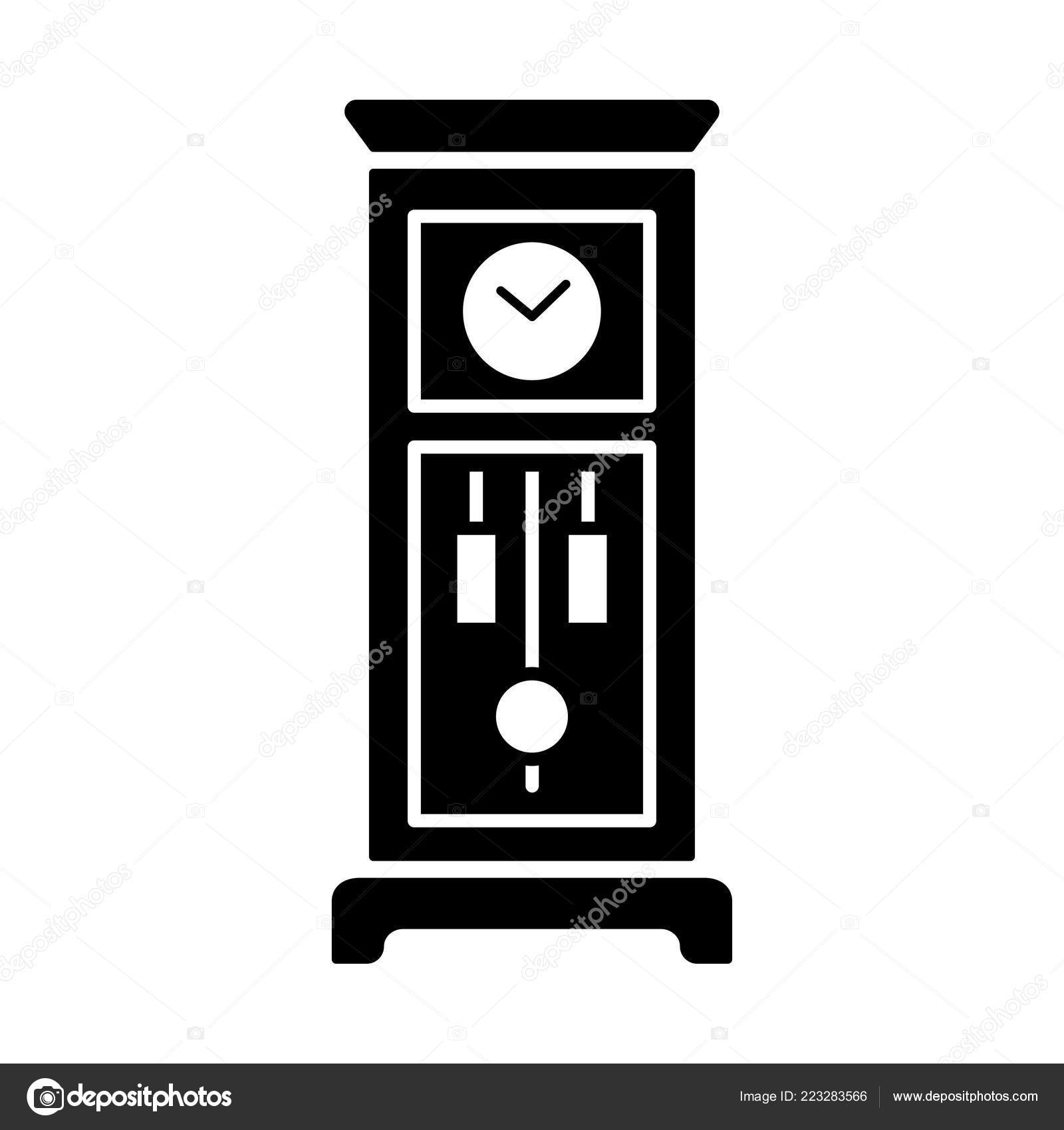 Standuhr Digital Vector Illustration Old Floor Clock Flat Icon Vintage Large Wooden