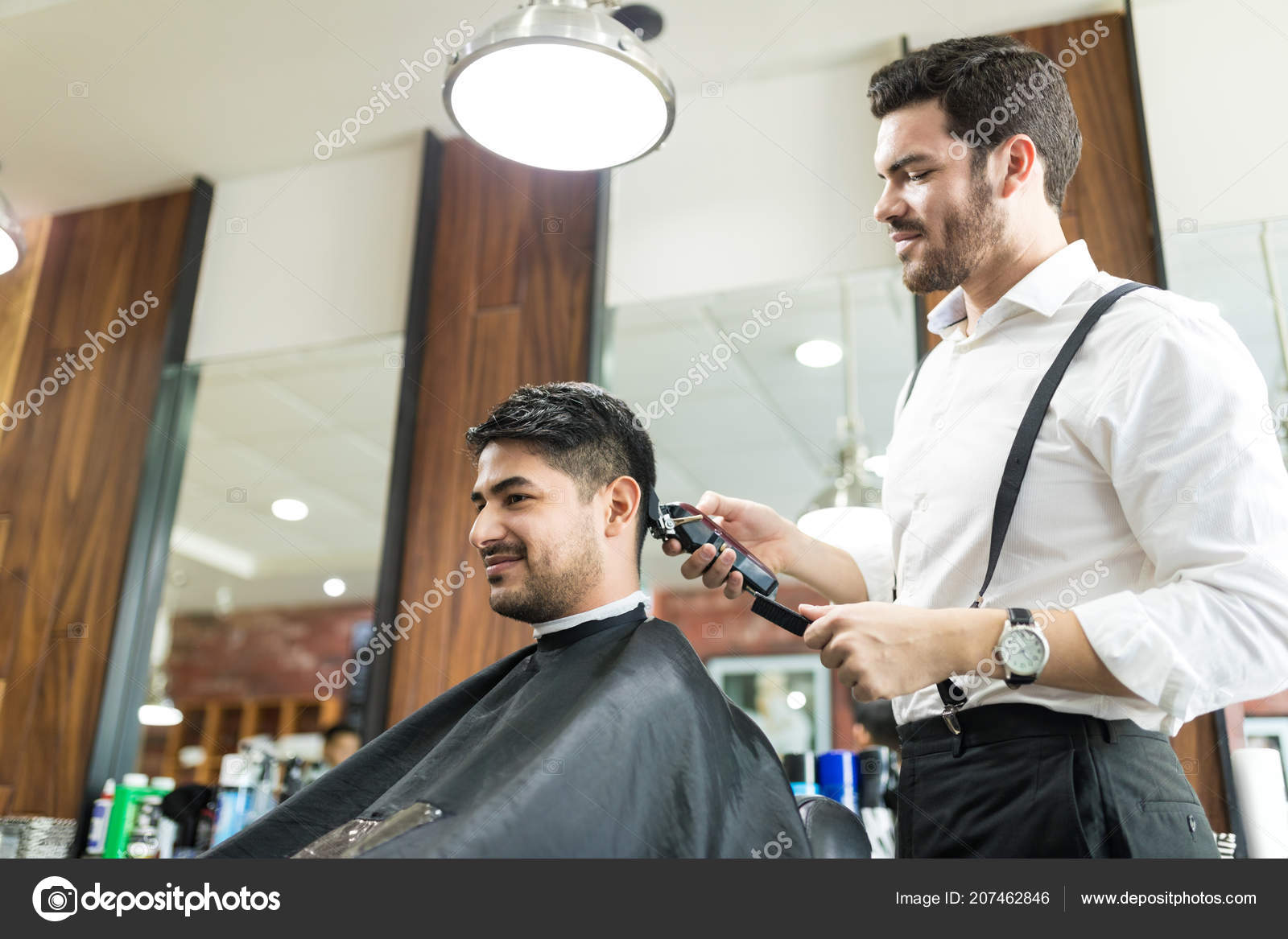 Salon Angle Low Angle View Young Professional Barber Trimming Client Hair