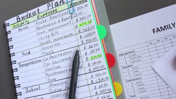 Family Budget Monthly Expenses List Woman Writes All Her Sources