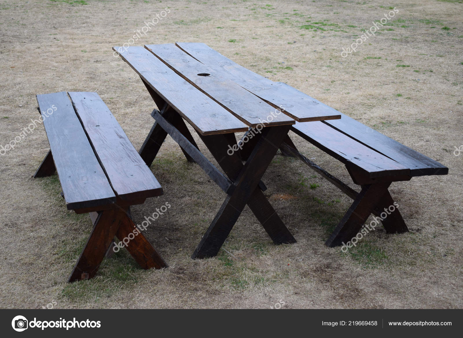 Wooden Bench Table Wooden Bench Table Street Restaurant Stock Photo Yofoto 219669458