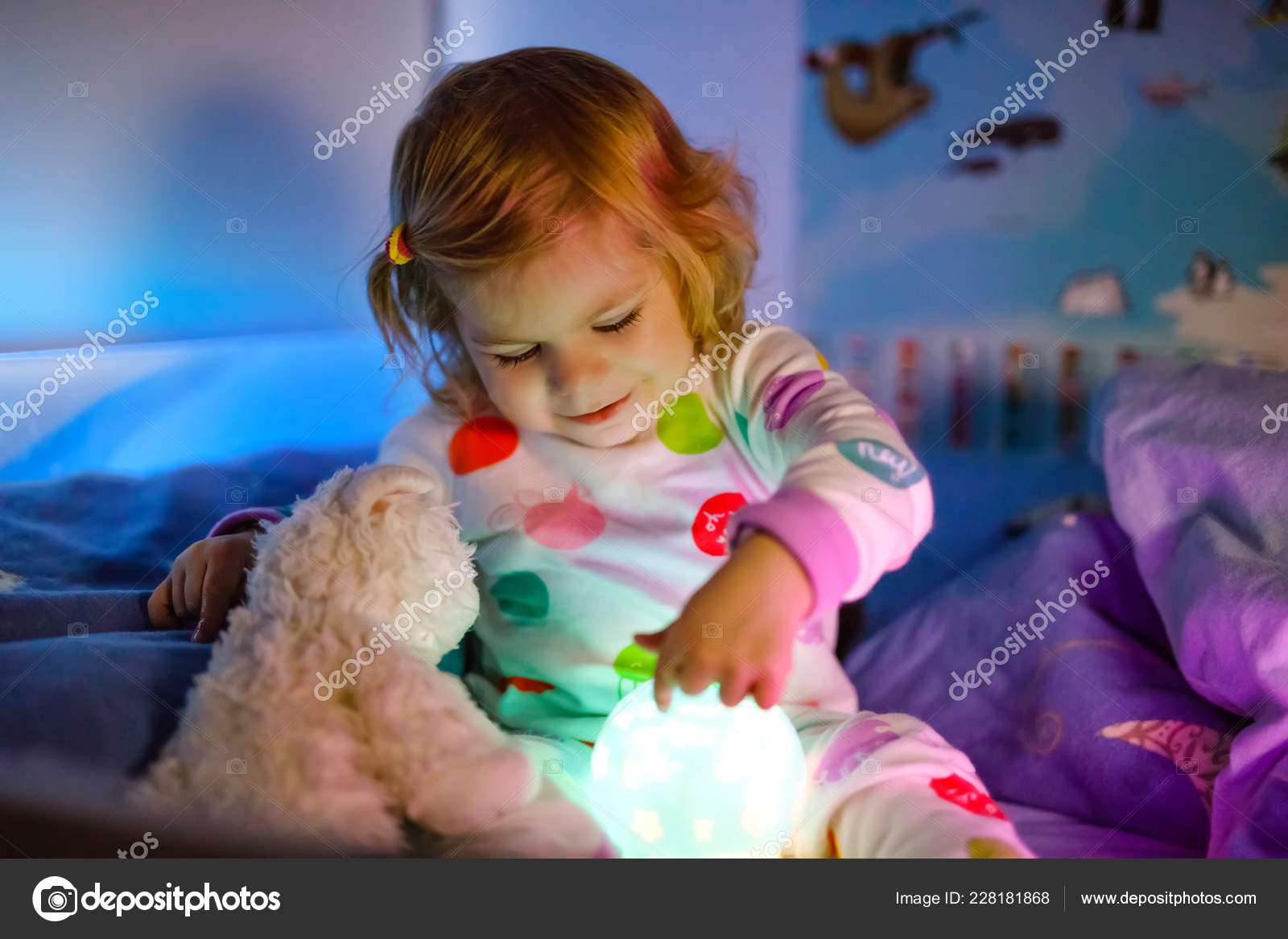 Girl Night Lights Cute Little Toddler Girl Playing With Colorful Night Light Lamp
