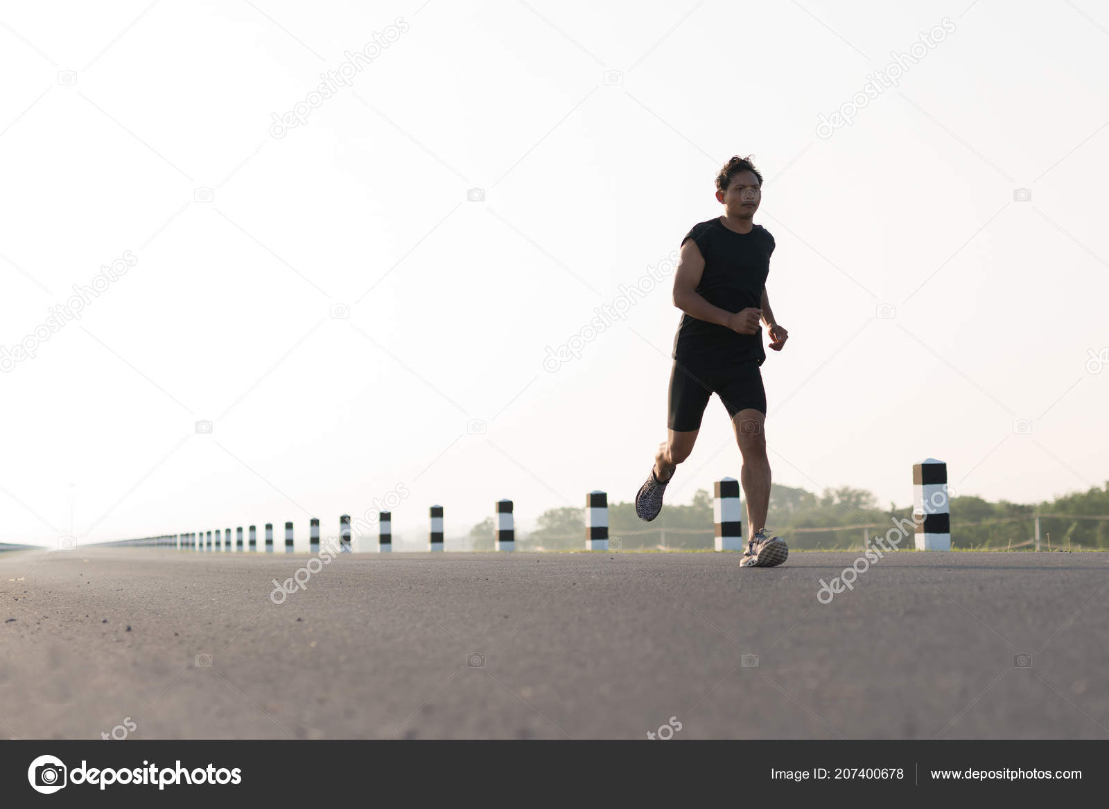 Jogging Run Time Asia Young Man Running Time Sunrise Dam Road Exercise