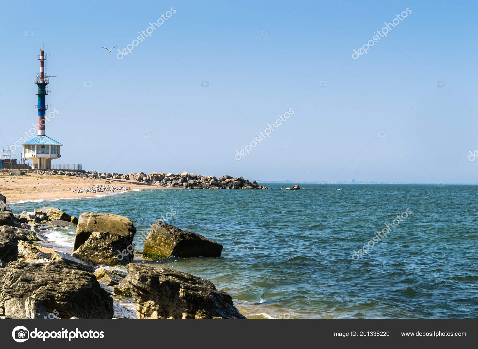 Lighthouse Background Black Sea Coast Lighthouse Background Stock Photo Bozhkovr