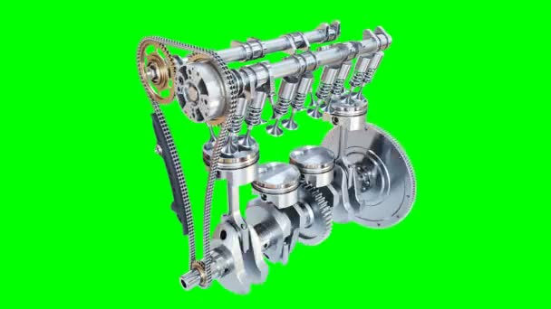 Animation Four Stroke Internal Combustion Engine Alpha Channel