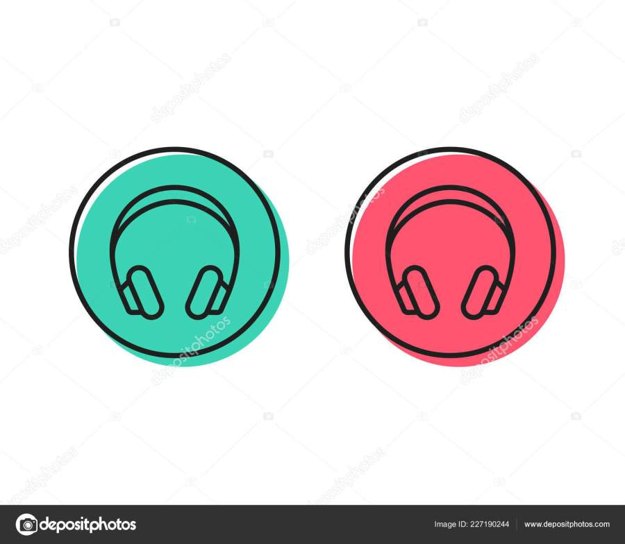 Headphones Line Icon Music Listening Device Sign Audio Symbol Positive \u2014 Stock Vector